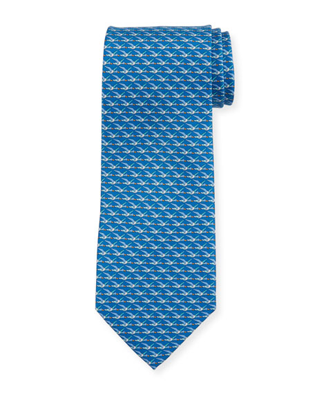 Salvatore Ferragamo Ducks Printed Silk Tie, Blue