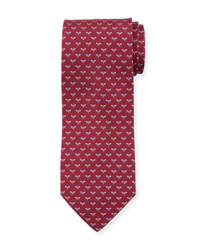 Honeybee Silk Tie, Red