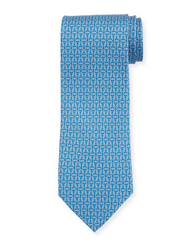Fortuna Linked Gancini Silk Tie, Blue