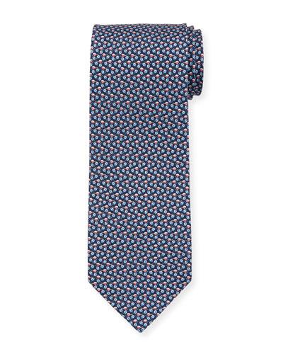 Faggio Leaf Printed Silk Tie, Blue