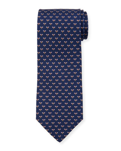 Honeybee Silk Tie, Blue