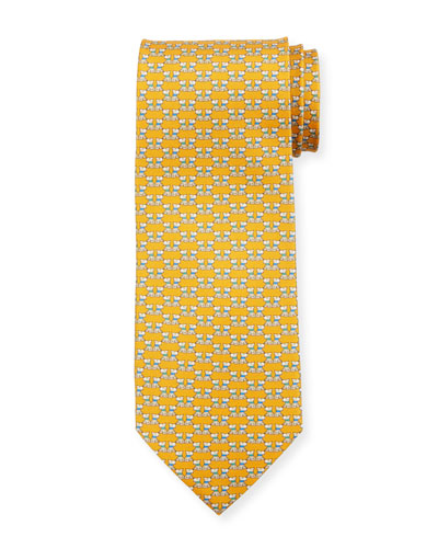 Fido Dogs Printed Silk Tie, Yellow