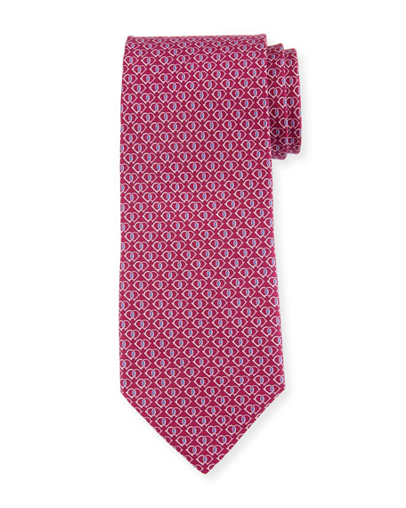 Salvatore Ferragamo Fiocco Gancini Printed Silk Tie, Pink
