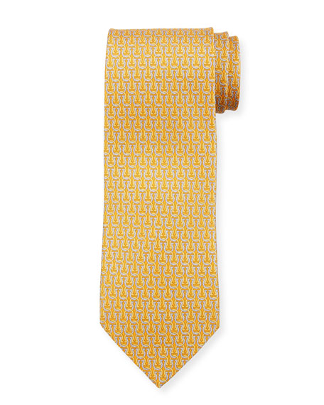 Salvatore Ferragamo Fortuna Linked Gancini Silk Tie, Yellow