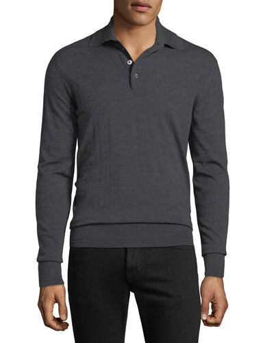 Men's Long-Sleeve Merino Wool Polo Shirt