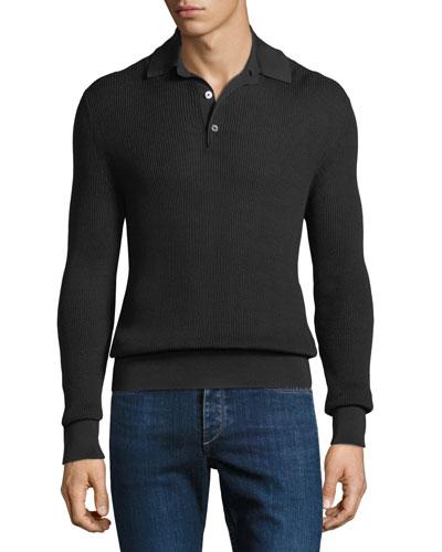 Men's Waffle-Knit Long-Sleeve Polo Shirt