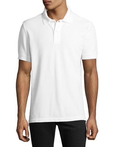 Garment-Dyed Tennis Pique Polo Shirt