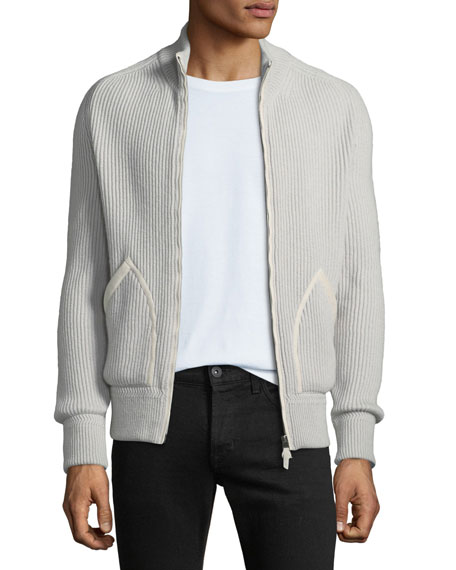 Men's Ribbed Cashmere Zip-Front Fisherman Cardigan Sweater