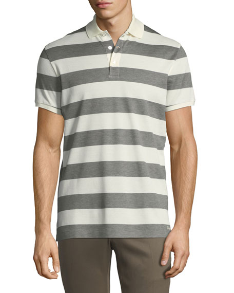 Striped Short-Sleeve Polo Shirt