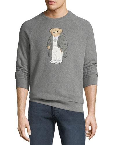 Men's Bear-Applique Crewneck Raglan Fleece Sweatshirt