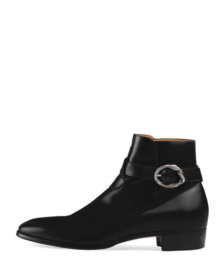 Leather Ankle Boot with Kingsnake Buckle