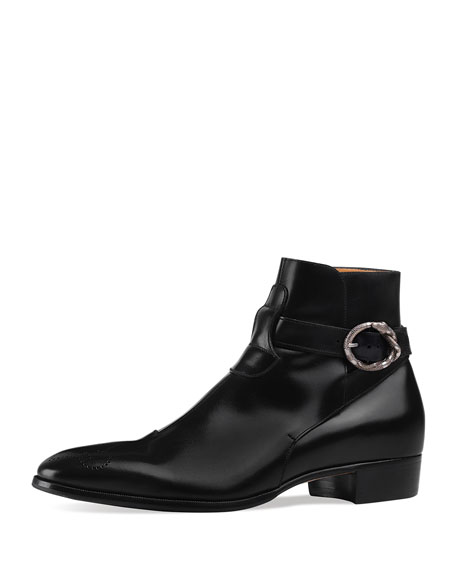 b4816674 Leather Ankle Boot with Kingsnake Buckle