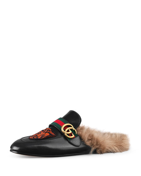 Princetown Embroidered Slipper with Double G