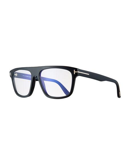 Men'S Rectangular Acetate Eyeglasses, Black in Shiny Black