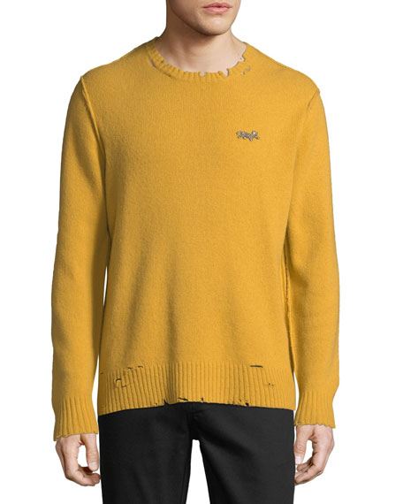 Men's Leopard Distressed Sweater