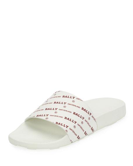 Bally Men's Slanter Logo-Print Pool Slide Sandal