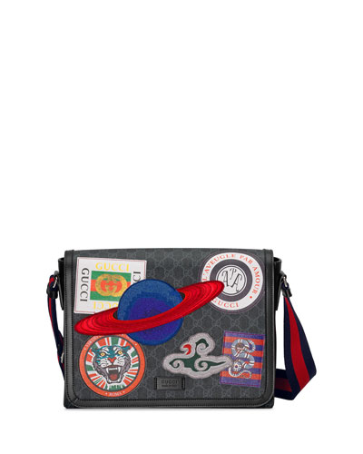Men's Supreme GG Canvas Messenger Bag with Planet Patches