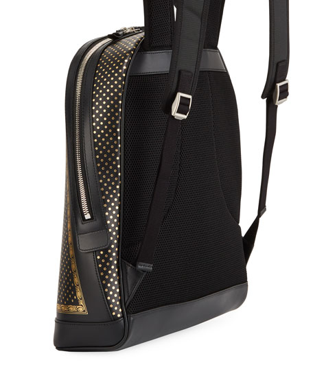 9dc81a2555d4 Gucci Men's Guccy Script Leather Backpack