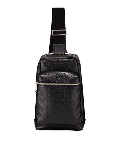 Men's GG Leather Crossbody Backpack