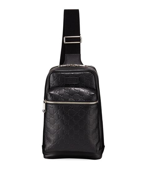 5ecf7ddc2c5 Gucci Men s GG Leather Crossbody Backpack