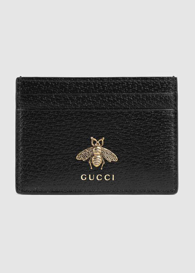 Men's Bee Leather Card Case