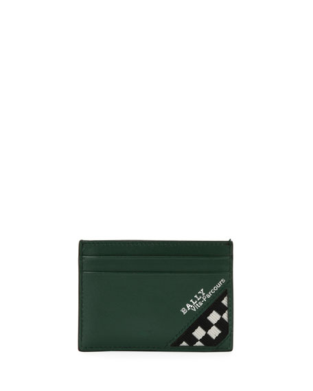 Men's Bhar Leather Card Case with Racing Check, Dark Green