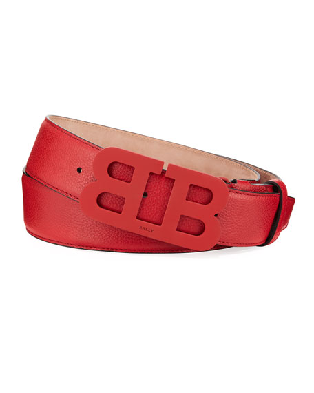 Bally Men's Mirror B Leather Belt, Red