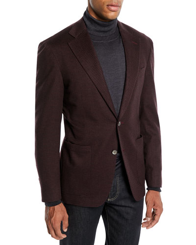 Men's Two-Button Check Super 170s Wool Travel Blazer