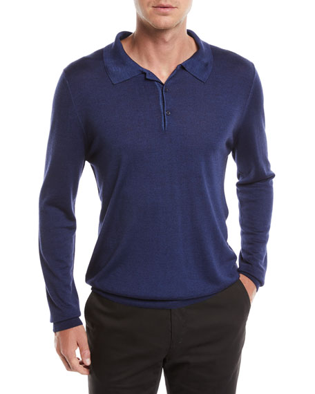 Canali Men's Long-Sleeve Wool/Silk Polo Shirt, Marine Blue