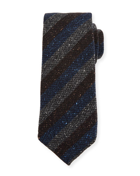 Melange Stripe Wool/Silk Tie, Blue