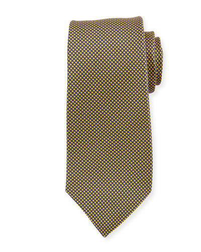 Micro Houndstooth Silk Tie, Yellow