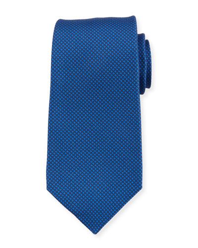 Micro Houndstooth Silk Tie, Blue