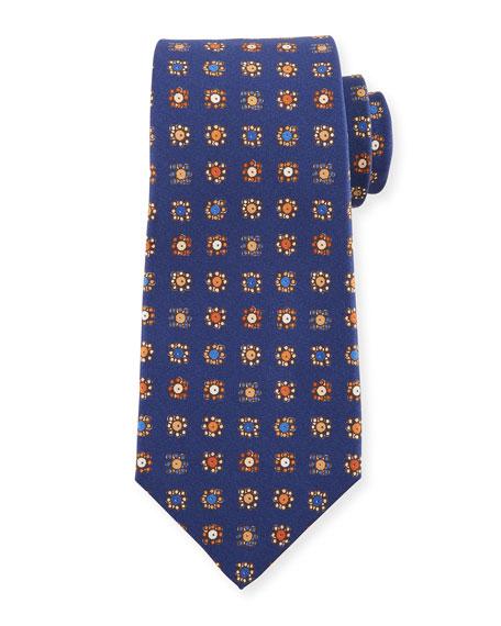Kiton Circle in Box Medallion Silk Tie, Blue