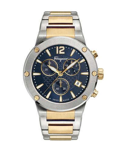 Men's 41mm F-80 Two-Tone Chrono Bracelet Watch  Blue