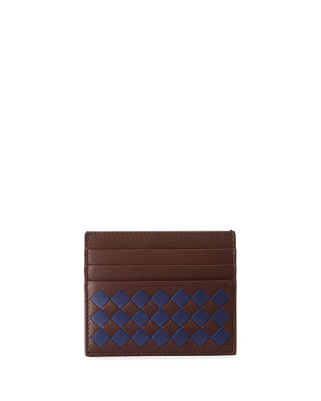Bottega Veneta Men's Two-Tone Intrecciato Leather Card Case