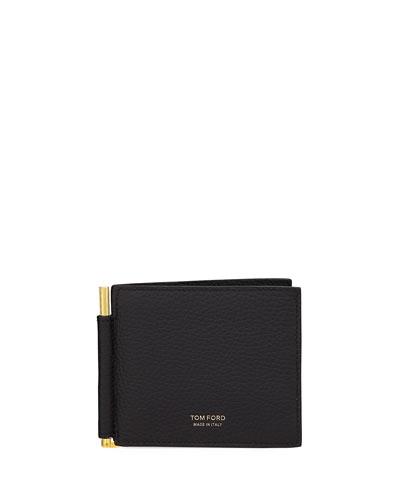Men's Leather Bi-Fold Wallet w/ Money Clip