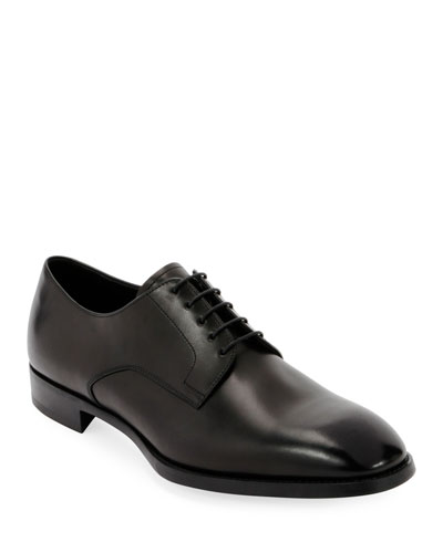 Men's Smooth Leather Rubber-Sole Derby Shoe