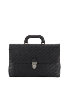 Men's Pelle Tessuta Flat Briefcase Business Bag by Ermenegildo Zegna