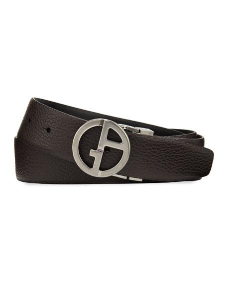Giorgio Armani Men's Reversible Logo-Buckle Vitello Belt,
