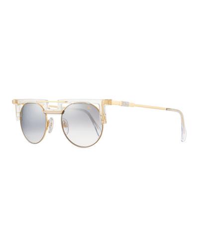 Men's Round Gradient Acetate/Metal Sunglasses