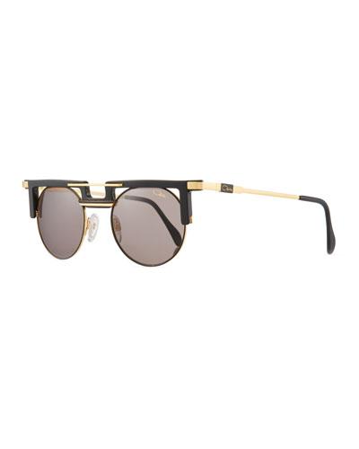 Men's Round Acetate/Metal Sunglasses