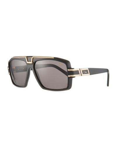 Men's Square Acetate/Metal Sunglasses