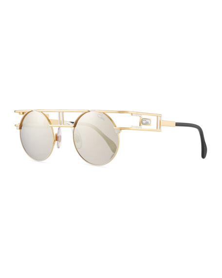 Cazal Men's Round Double-Bar Metal Sunglasses