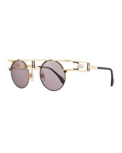 Men's Round Metal Double-Bar Sunglasses