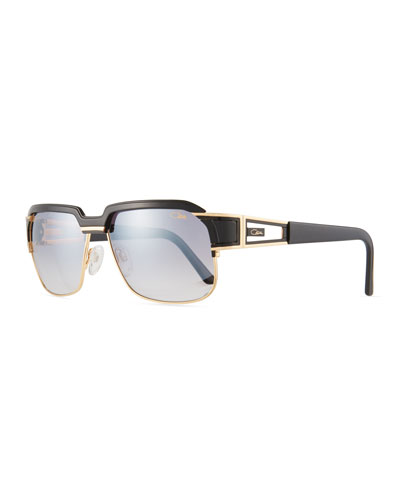 Men's Square Half-Rim Acetate/Metal Sunglasses