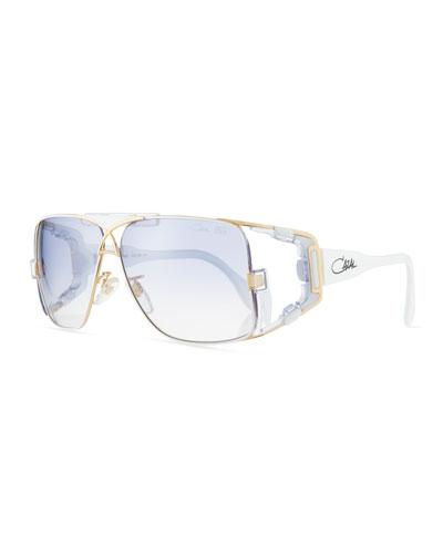 Men's Acetate/Metal Wrap Sunglasses