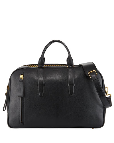 Men's Leather Duffel Weekender Bag