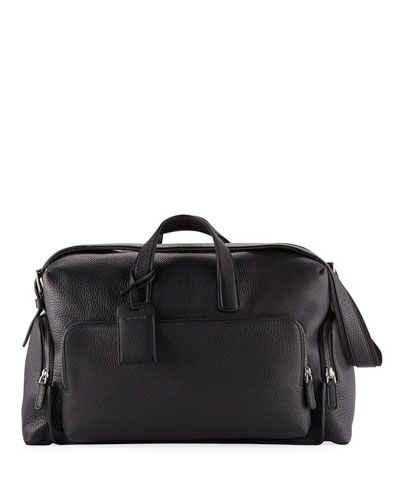 Men's Tumbled Calf-Leather Carryall Duffel Bag
