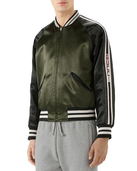 a10587557 Gucci Raglan-Sleeve Varsity Jacket