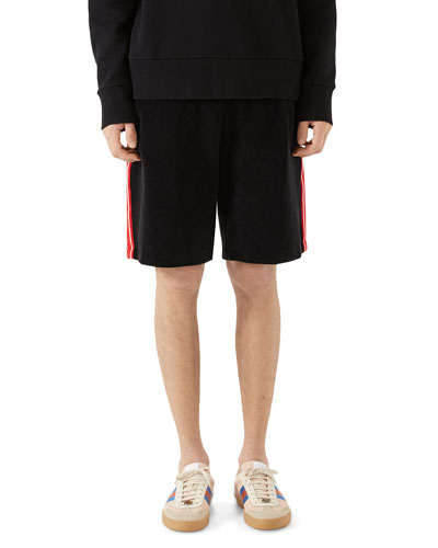 Side-Stripe Velour Track Shorts